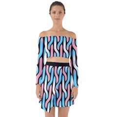 Transgender Pride Tressed Pattern Off Shoulder Top With Skirt Set