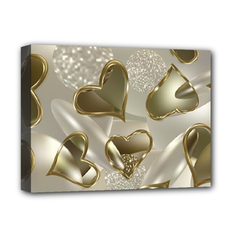 Golden Hearts Deluxe Canvas 16  X 12  (stretched)