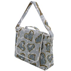 Gold Hearts On A Blue Background Box Up Messenger Bag