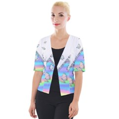 Minimal Holographic Butterflies Cropped Button Cardigan