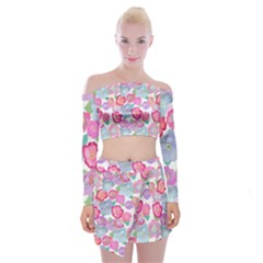 Bright, Joyful Flowers Off Shoulder Top With Mini Skirt Set