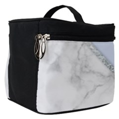 Minimal Silver Blue Marble Bouquet A Make Up Travel Bag (small)