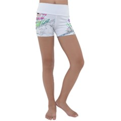 Minimal Silver Floral Marble A Kids  Lightweight Velour Yoga Shorts