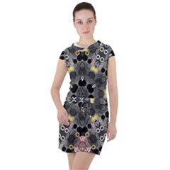 Abstract Geometric Kaleidoscope Drawstring Hooded Dress