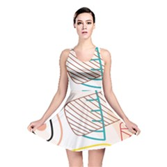 Pastel Abstract Pattern With Beige, Coffee Color Strap Reversible Skater Dress