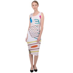 Pastel Abstract Pattern With Beige, Coffee Color Strap Sleeveless Pencil Dress