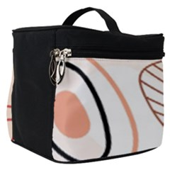 Pastel Abstract Pattern With Beige, Coffee Color Strap Make Up Travel Bag (small)