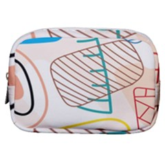 Pastel Abstract Pattern With Beige, Coffee Color Strap Make Up Pouch (small)