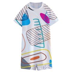 Pastel Abstract Pattern With Beige, Coffee Color Strap Kids  Boyleg Half Suit Swimwear