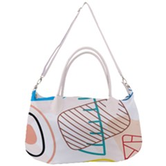 Pastel Abstract Pattern With Beige, Coffee Color Strap Removal Strap Handbag