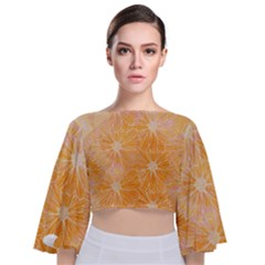 Flowers Pattern Orange Yellow Tie Back Butterfly Sleeve Chiffon Top