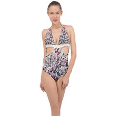 Berries In Winter, Fruits In Vintage Style Photography Halter Front Plunge Swimsuit