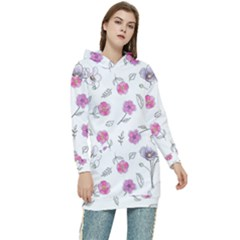 Flowers In One Line Women s Long Oversized Pullover Hoodie