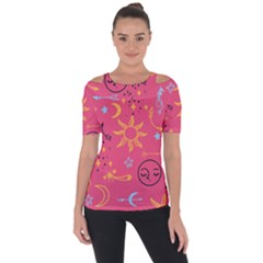 Pattern Mystic Color Shoulder Cut Out Short Sleeve Top