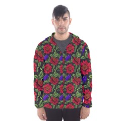 Spanish Passion Floral Pattern Men s Hooded Windbreaker