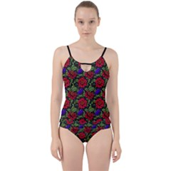 Spanish Passion Floral Pattern Cut Out Top Tankini Set