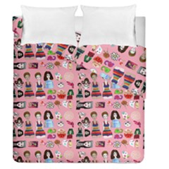 Drawing Collage Pink Duvet Cover Double Side (queen Size)