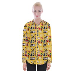 Drawing Collage Yellow Womens Long Sleeve Shirt