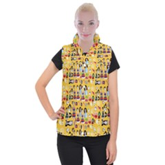 Drawing Collage Yellow Women s Button Up Vest