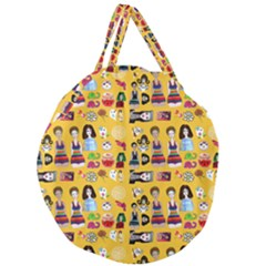 Drawing Collage Yellow Giant Round Zipper Tote