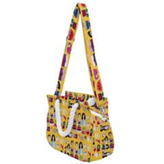 Drawing Collage Yellow Rope Handles Shoulder Strap Bag