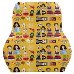 Drawing Collage Yellow Car Seat Back Cushion