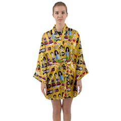 Drawing Collage Yellow Long Sleeve Satin Kimono