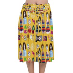 Drawing Collage Yellow Velvet Flared Midi Skirt
