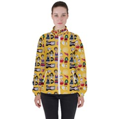 Drawing Collage Yellow Women s High Neck Windbreaker