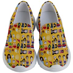 Drawing Collage Yellow Kids Lightweight Slip Ons
