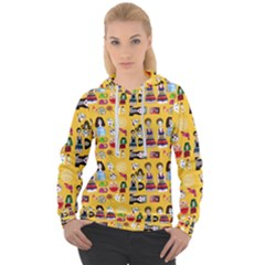 Drawing Collage Yellow Women s Overhead Hoodie