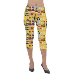 Drawing Collage Yellow Lightweight Velour Capri Leggings