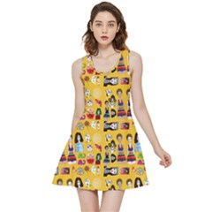 Drawing Collage Yellow Inside Out Reversible Sleeveless Dress