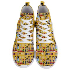 Drawing Collage Yellow Men s Lightweight High Top Sneakers