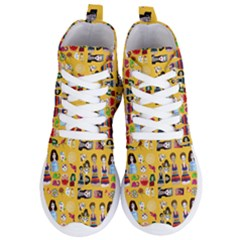 Drawing Collage Yellow Women s Lightweight High Top Sneakers