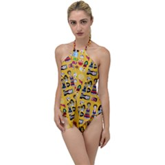 Drawing Collage Yellow Go With The Flow One Piece Swimsuit