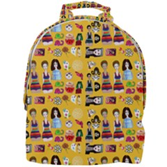 Drawing Collage Yellow Mini Full Print Backpack