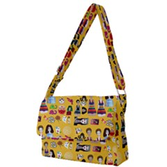 Drawing Collage Yellow Full Print Messenger Bag (s)