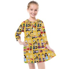 Drawing Collage Yellow Kids  Quarter Sleeve Shirt Dress