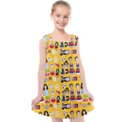 Drawing Collage Yellow Kids  Cross Back Dress
