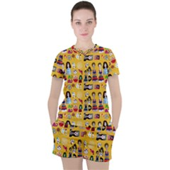 Drawing Collage Yellow Women s Tee And Shorts Set