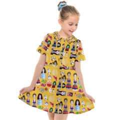Drawing Collage Yellow Kids  Short Sleeve Shirt Dress