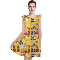 Drawing Collage Yellow Tie Up Tunic Dress