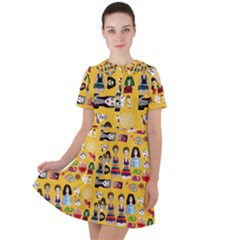 Drawing Collage Yellow Short Sleeve Shoulder Cut Out Dress