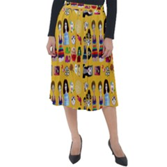 Drawing Collage Yellow Classic Velour Midi Skirt