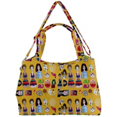 Drawing Collage Yellow Double Compartment Shoulder Bag