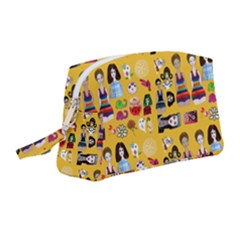 Drawing Collage Yellow Wristlet Pouch Bag (medium)