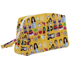 Drawing Collage Yellow Wristlet Pouch Bag (large)