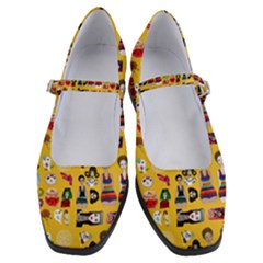 Drawing Collage Yellow Women s Mary Jane Shoes
