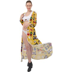 Drawing Collage Yellow Maxi Chiffon Beach Wrap